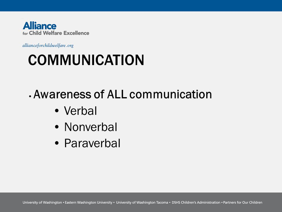 COMMUNICATION Awareness of ALL communication Verbal Nonverbal Paraverbal