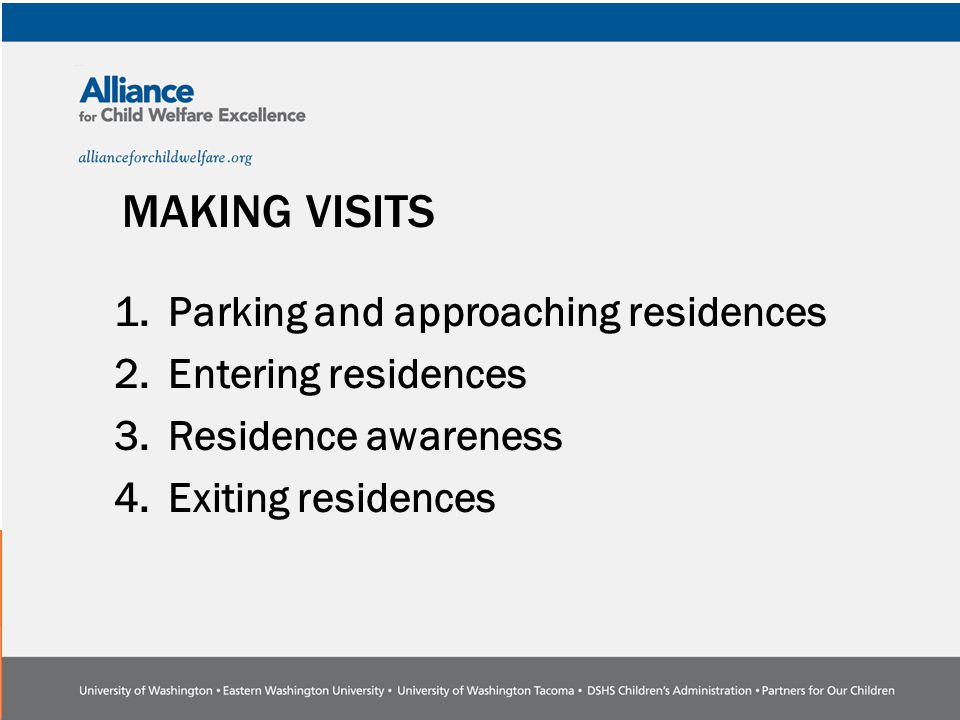 MAKING VISITS 1.Parking and approaching residences 2.Entering residences 3.Residence awareness 4.Exiting residences