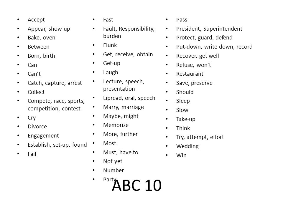 ABC 10 Accept Appear, show up Bake, oven Between Born, birth Can Can't Catch, capture, arrest Collect Compete, race, sports, competition, contest Cry Divorce Engagement Establish, set-up, found Fail Fast Fault, Responsibility, burden Flunk Get, receive, obtain Get-up Laugh Lecture, speech, presentation Lipread, oral, speech Marry, marriage Maybe, might Memorize More, further Most Must, have to Not-yet Number Party Pass President, Superintendent Protect, guard, defend Put-down, write down, record Recover, get well Refuse, won't Restaurant Save, preserve Should Sleep Slow Take-up Think Try, attempt, effort Wedding Win