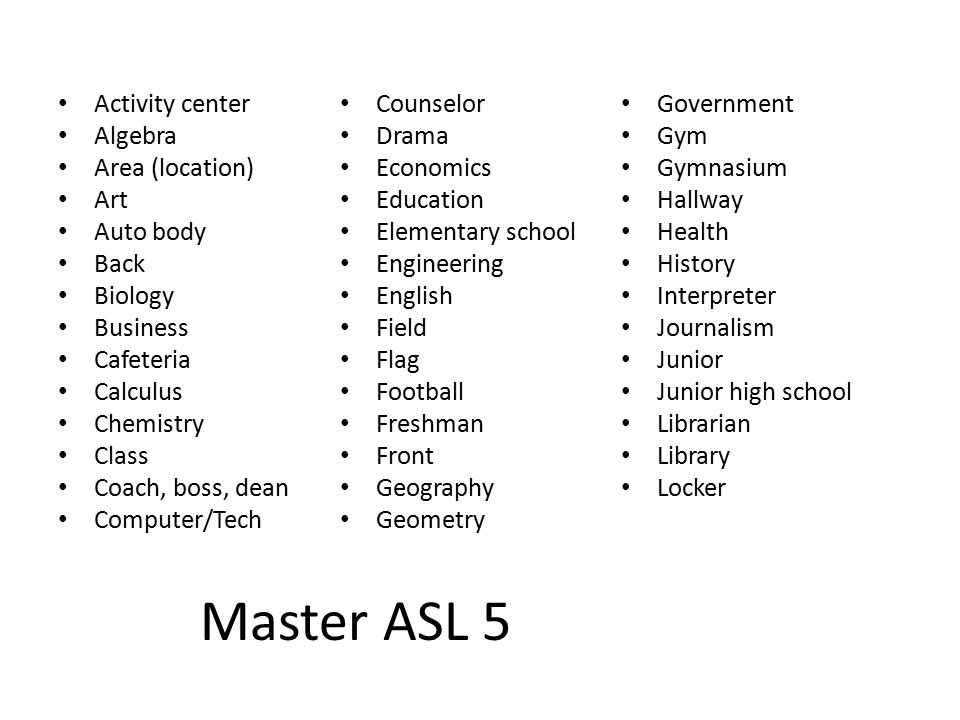 Master ASL 5 Activity center Algebra Area (location) Art Auto body Back Biology Business Cafeteria Calculus Chemistry Class Coach, boss, dean Computer/Tech Counselor Drama Economics Education Elementary school Engineering English Field Flag Football Freshman Front Geography Geometry Government Gym Gymnasium Hallway Health History Interpreter Journalism Junior Junior high school Librarian Library Locker