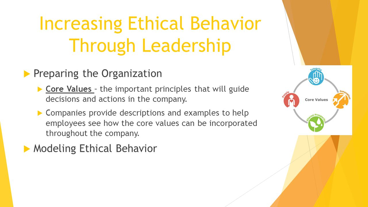 Increasing Ethical Behavior Through Leadership  Preparing the Organization  Core Values – the important principles that will guide decisions and actions in the company.