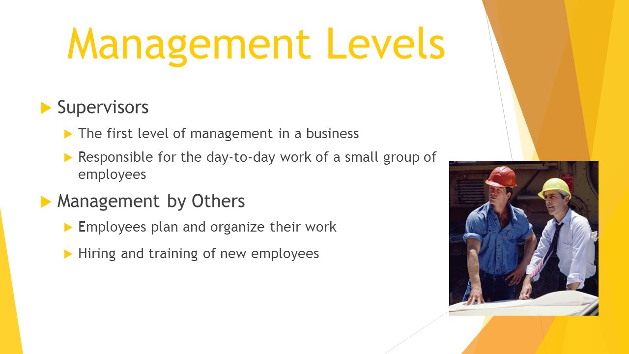 Management Levels  Supervisors  The first level of management in a business  Responsible for the day-to-day work of a small group of employees  Management by Others  Employees plan and organize their work  Hiring and training of new employees