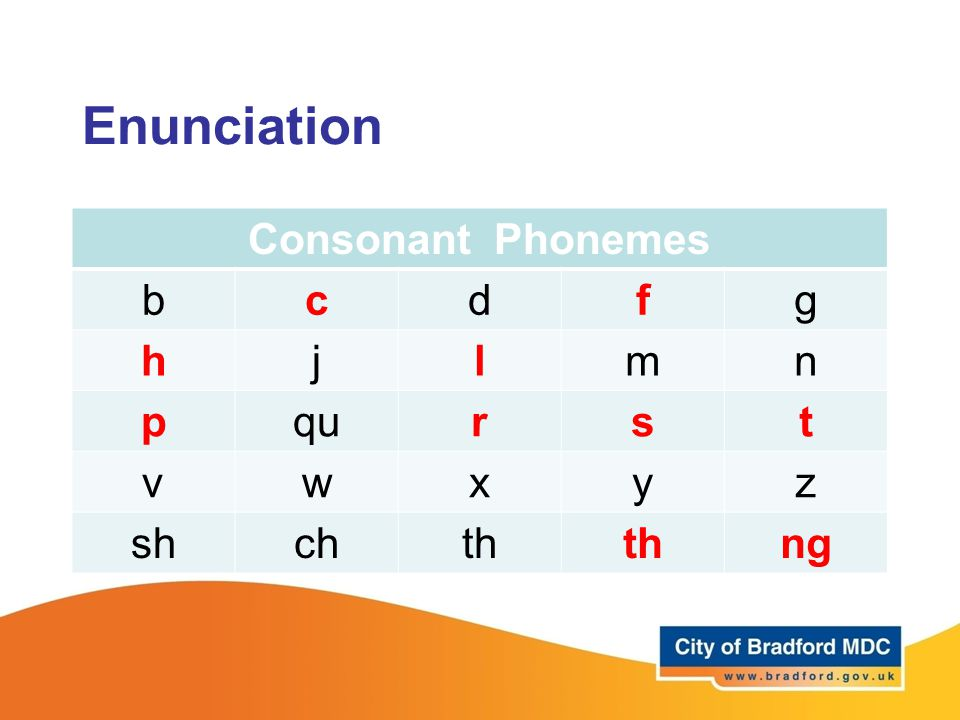 Enunciation Consonant Phonemes bcdfg hjlmn pqurst vwxyz shchth ng