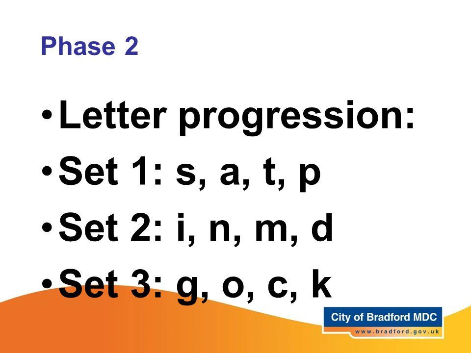 Letter progression: Set 1: s, a, t, p Set 2: i, n, m, d Set 3: g, o, c, k Phase 2