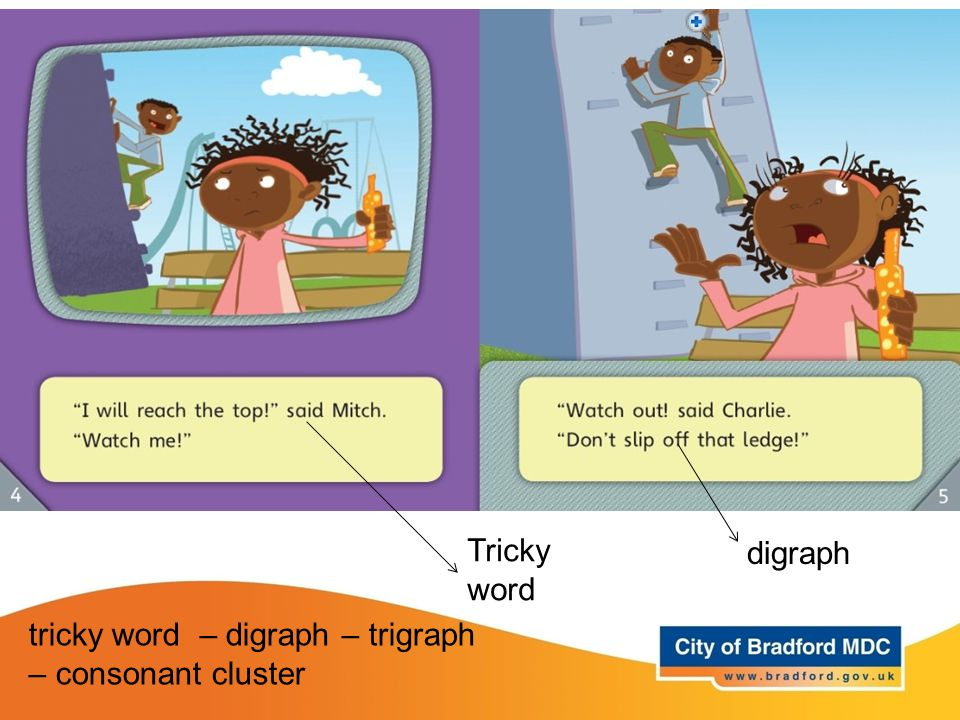 tricky word – digraph – trigraph – consonant cluster Tricky word digraph