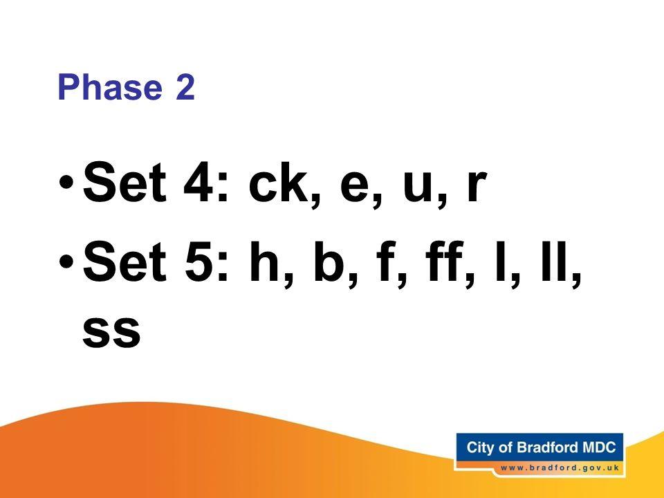 Set 4: ck, e, u, r Set 5: h, b, f, ff, l, ll, ss