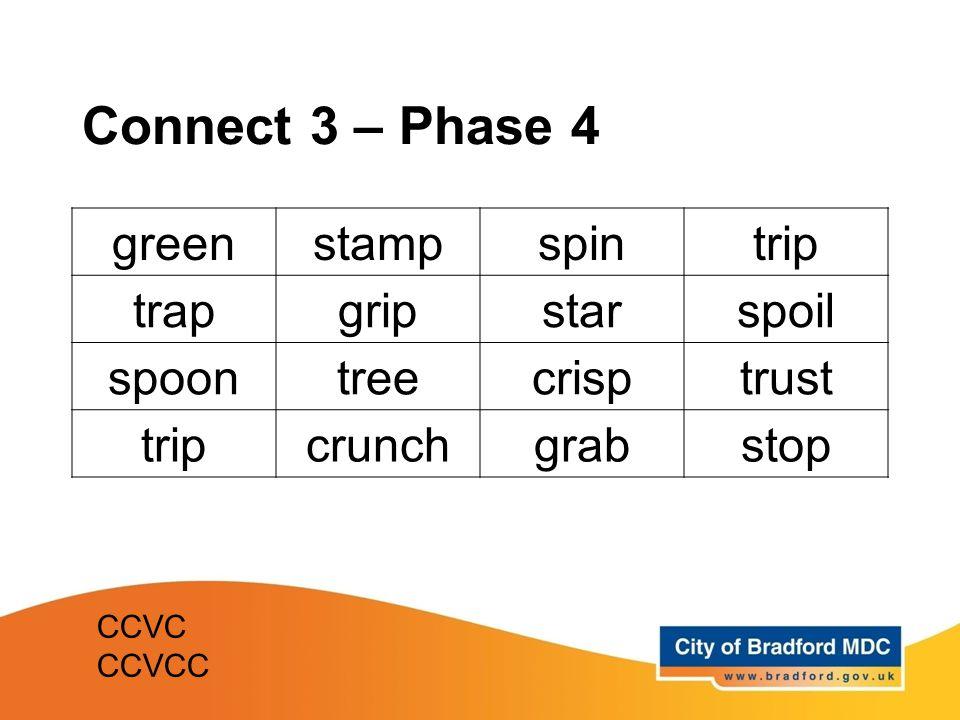 Connect 3 – Phase 4 greenstampspintrip trapgripstarspoil spoontreecrisptrust tripcrunchgrabstop CCVC CCVCC