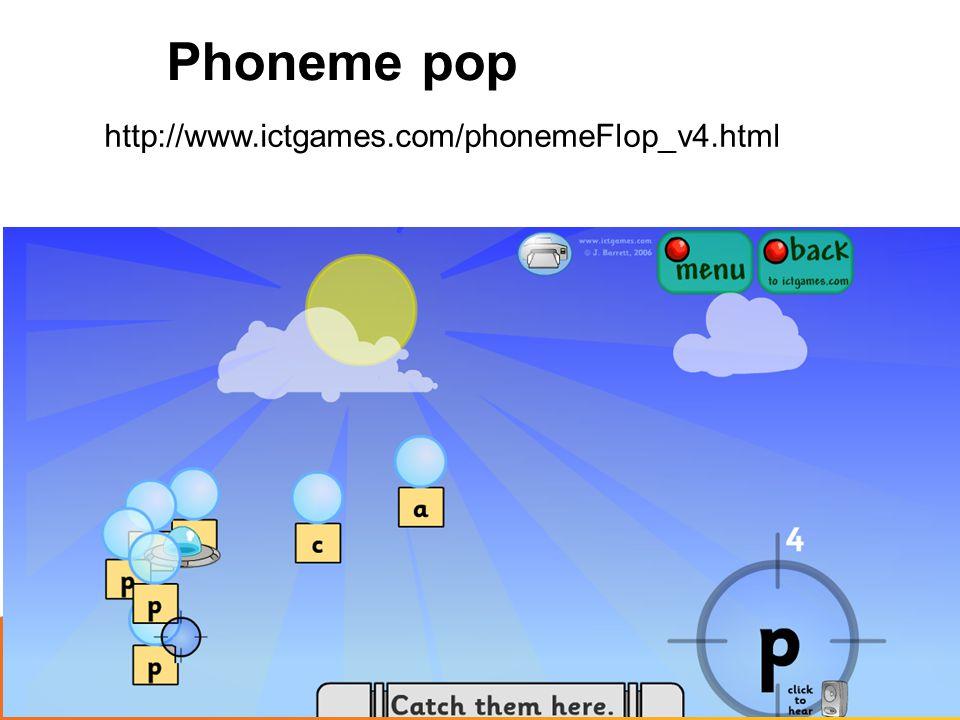 Phoneme pop http://www.ictgames.com/phonemeFlop_v4.html