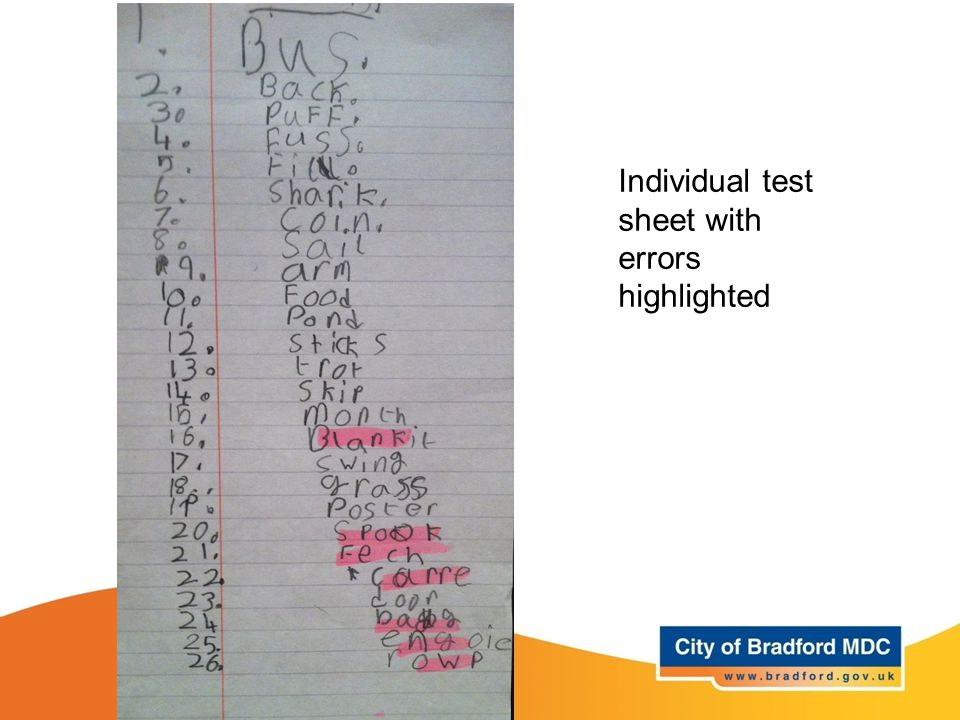 Individual test sheet with errors highlighted
