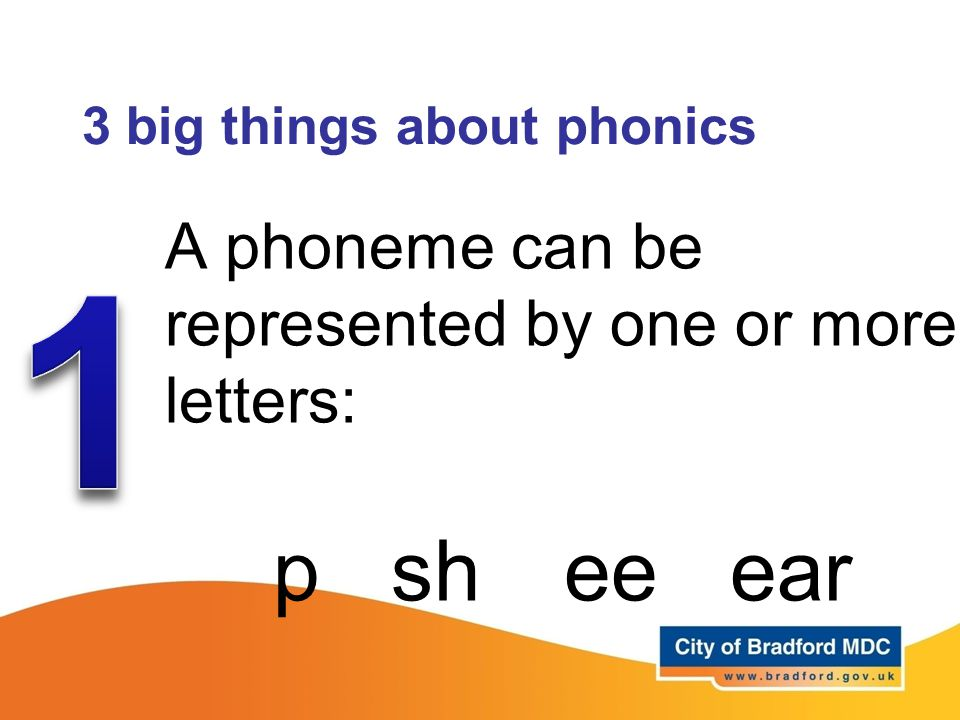3 big things about phonics A phoneme can be represented by one or more letters: p sh ee ear