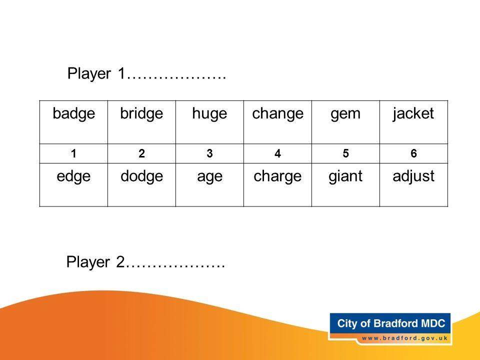 badgebridgehugechangegemjacket 123456 edgedodgeagechargegiantadjust Player 1………………. Player 2……………….