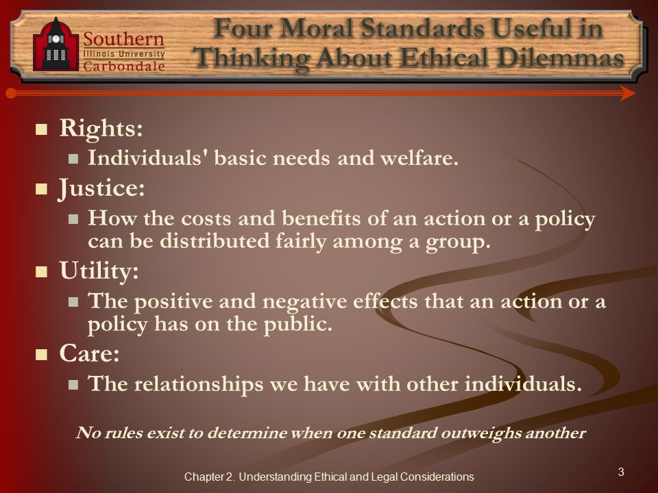 Rights: Individuals basic needs and welfare.
