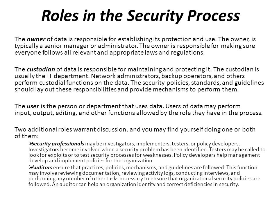 Roles in the Security Process The owner of data is responsible for establishing its protection and use. The owner, is typically a senior manager or ad