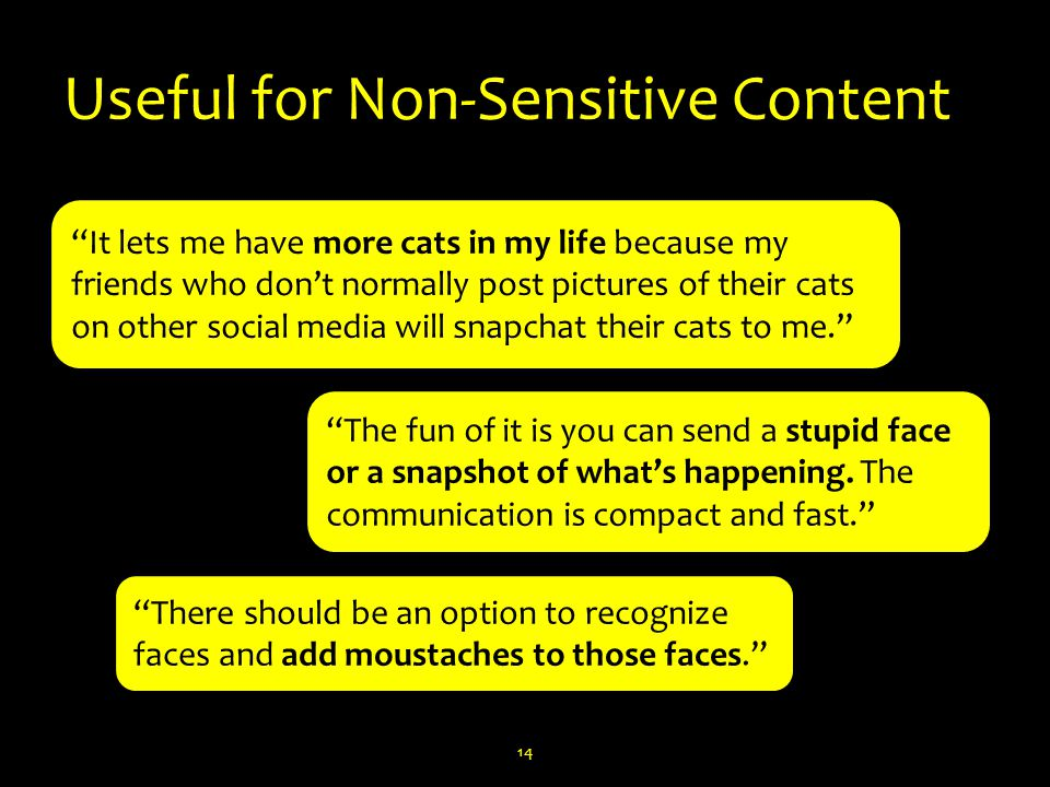 Useful for Non-Sensitive Content 14 It lets me have more cats in my life because my friends who don't normally post pictures of their cats on other social media will snapchat their cats to me. The fun of it is you can send a stupid face or a snapshot of what's happening.