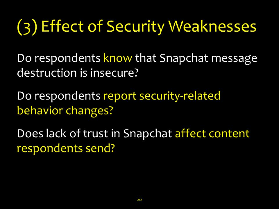 (3) Effect of Security Weaknesses Do respondents know that Snapchat message destruction is insecure.