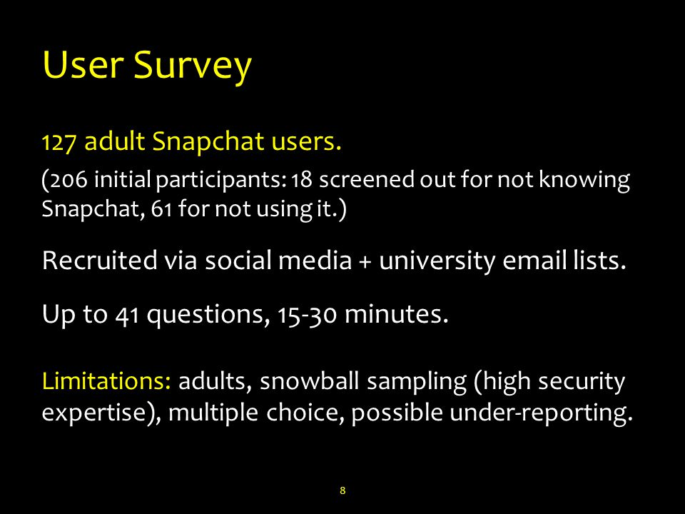 User Survey 127 adult Snapchat users.