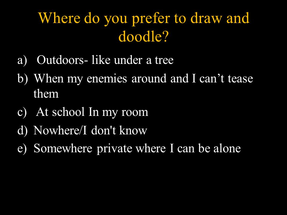 Where do you prefer to draw and doodle.