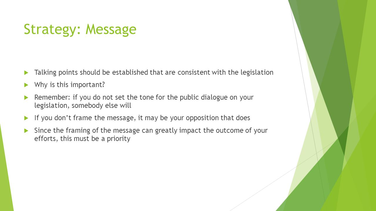 Strategy: Message  Talking points should be established that are consistent with the legislation  Why is this important.