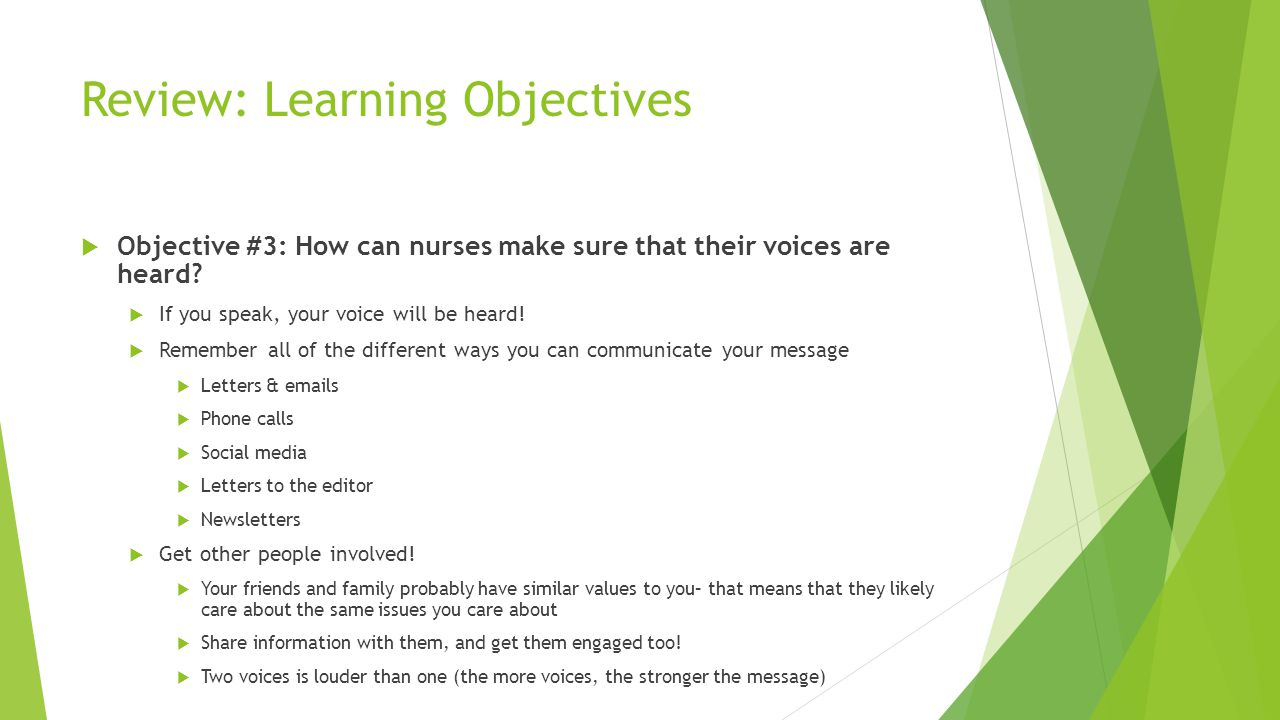 Review: Learning Objectives  Objective #3: How can nurses make sure that their voices are heard.