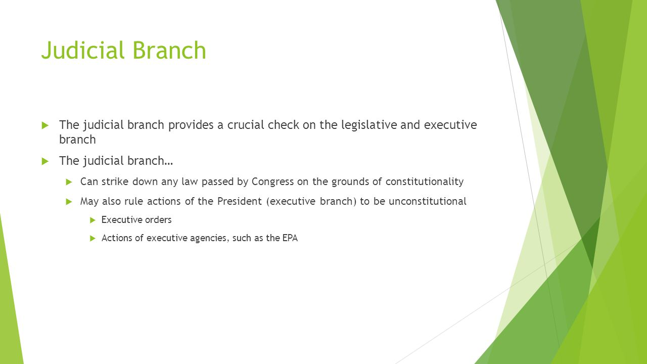 Judicial Branch  The judicial branch provides a crucial check on the legislative and executive branch  The judicial branch…  Can strike down any law passed by Congress on the grounds of constitutionality  May also rule actions of the President (executive branch) to be unconstitutional  Executive orders  Actions of executive agencies, such as the EPA