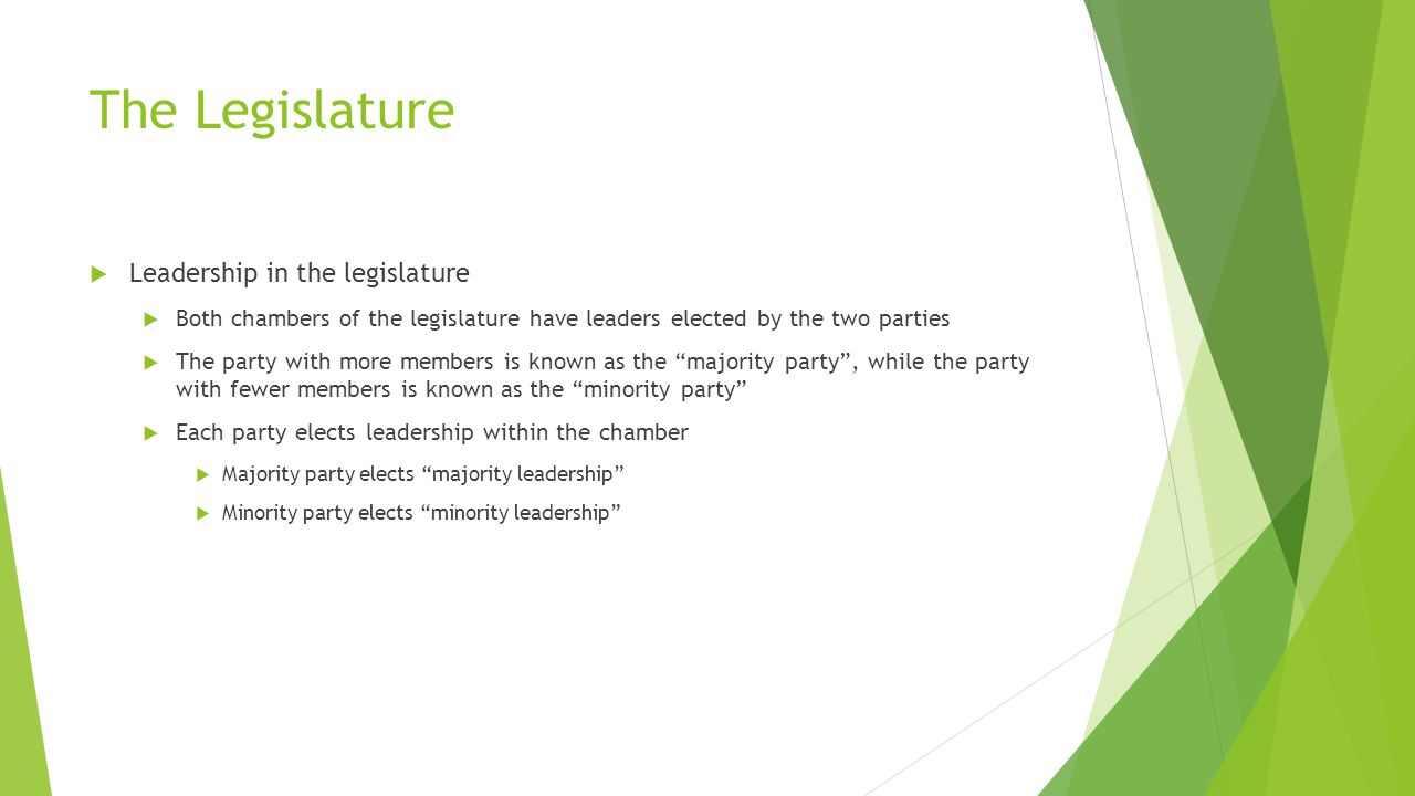 The Legislature  Leadership in the legislature  Both chambers of the legislature have leaders elected by the two parties  The party with more members is known as the majority party , while the party with fewer members is known as the minority party  Each party elects leadership within the chamber  Majority party elects majority leadership  Minority party elects minority leadership