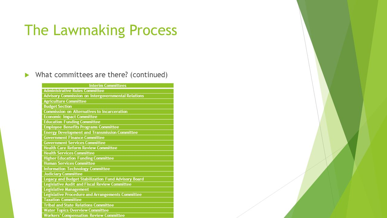The Lawmaking Process  What committees are there.