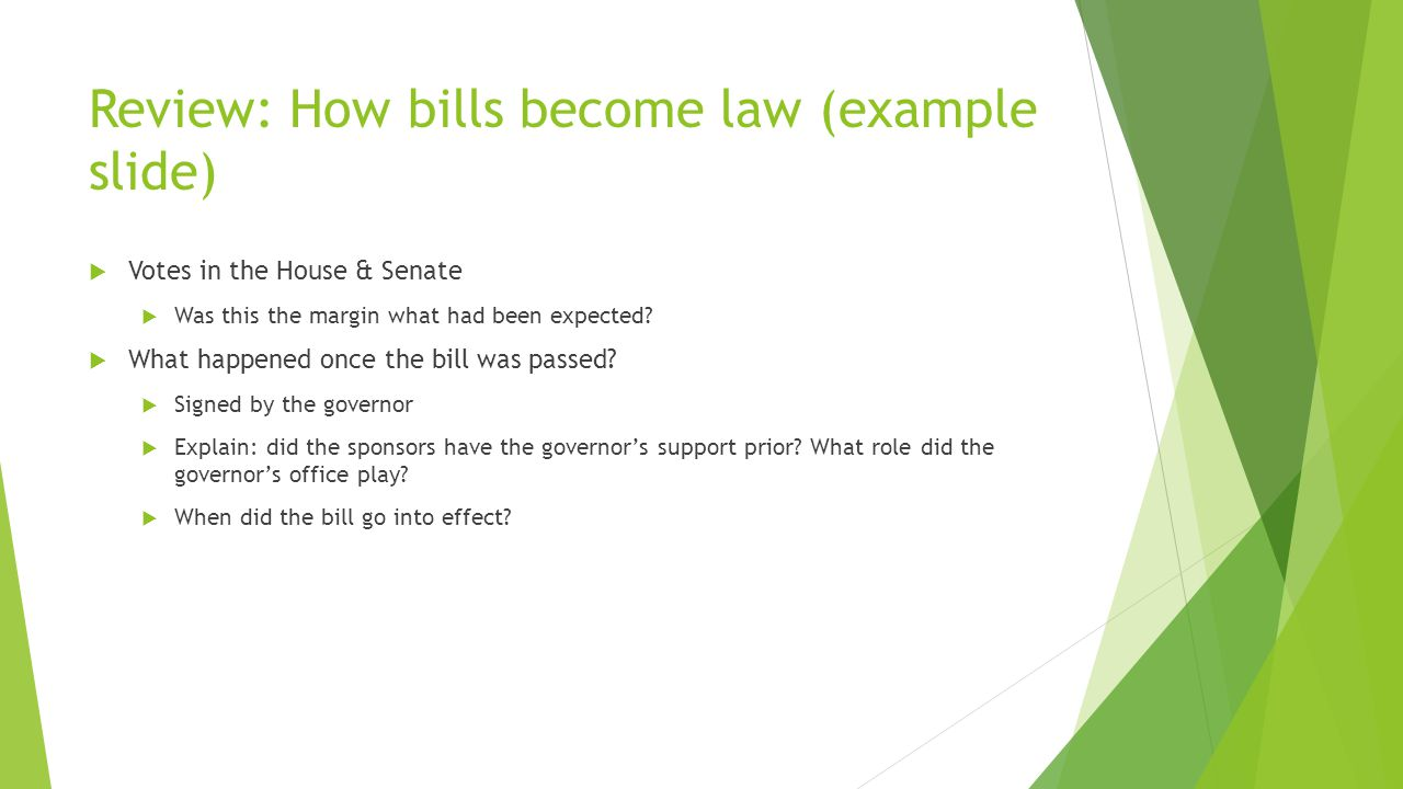 Review: How bills become law (example slide)  Votes in the House & Senate  Was this the margin what had been expected.