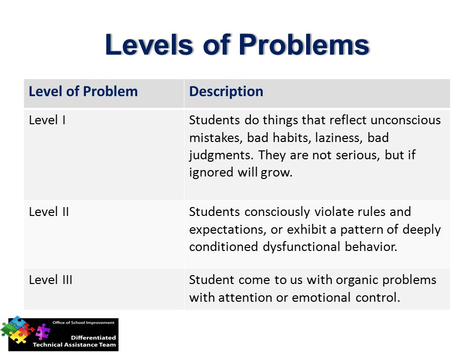 Level of ProblemDescription Level IStudents do things that reflect unconscious mistakes, bad habits, laziness, bad judgments.