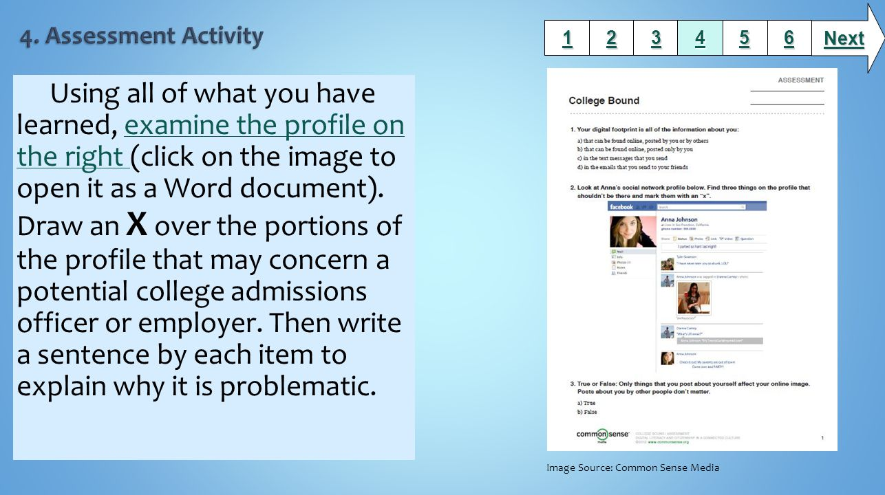 Using all of what you have learned, examine the profile on the right (click on the image to open it as a Word document).