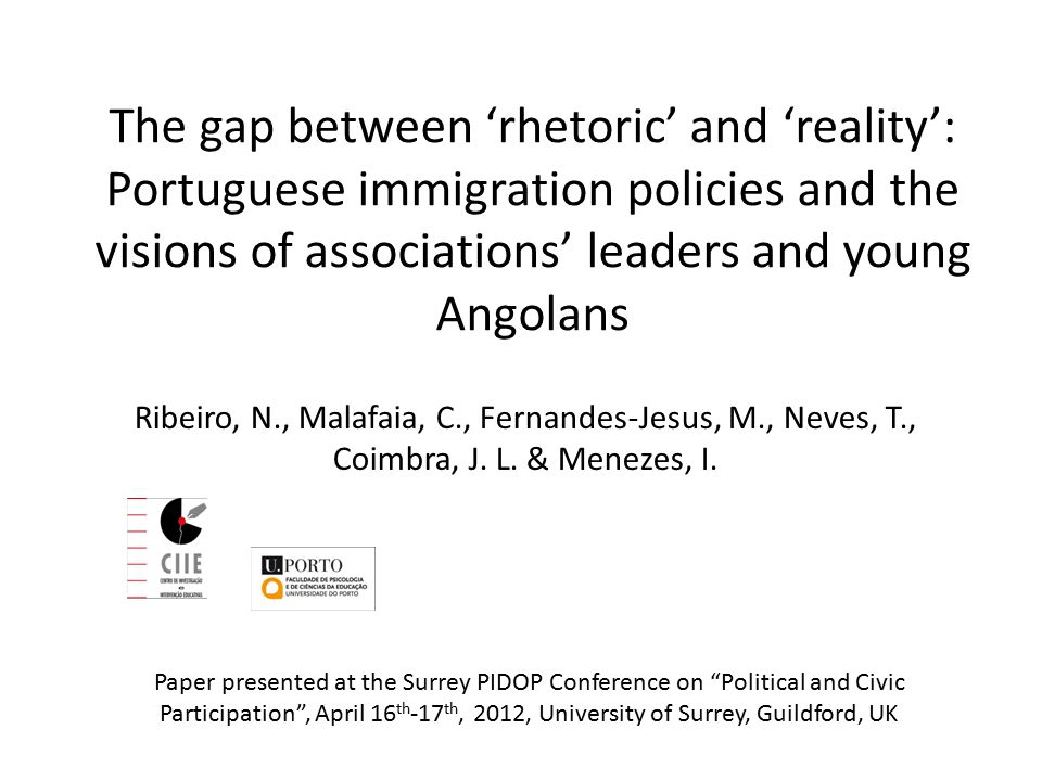 The gap between 'rhetoric' and 'reality': Portuguese immigration policies and the visions of associations' leaders and young Angolans Ribeiro, N., Malafaia, C., Fernandes-Jesus, M., Neves, T., Coimbra, J.