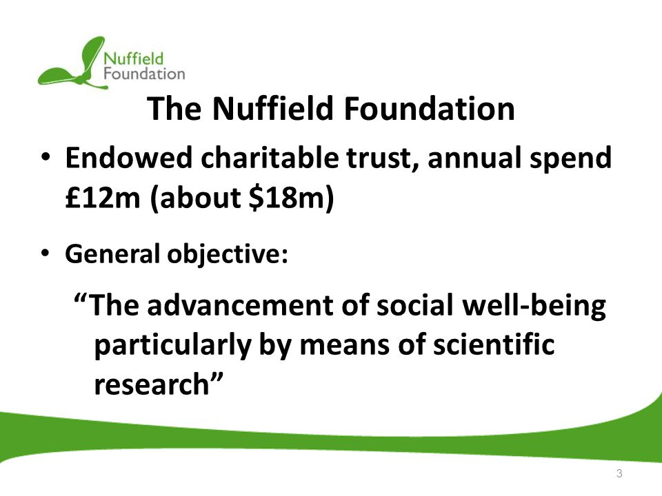 The Nuffield Foundation Endowed charitable trust, annual spend £12m (about $18m) General objective: The advancement of social well-being particularly by means of scientific research 3