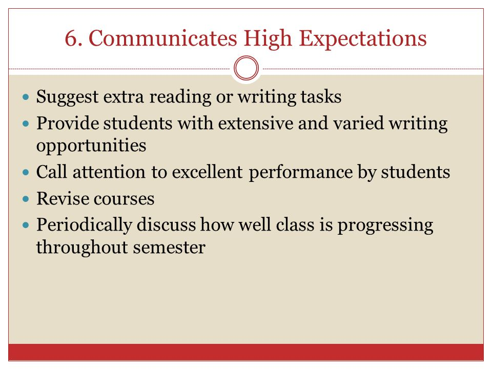 6. Communicates High Expectations Suggest extra reading or writing tasks Provide students with extensive and varied writing opportunities Call attenti