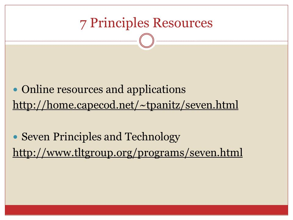 7 Principles Resources Online resources and applications   Seven Principles and Technology
