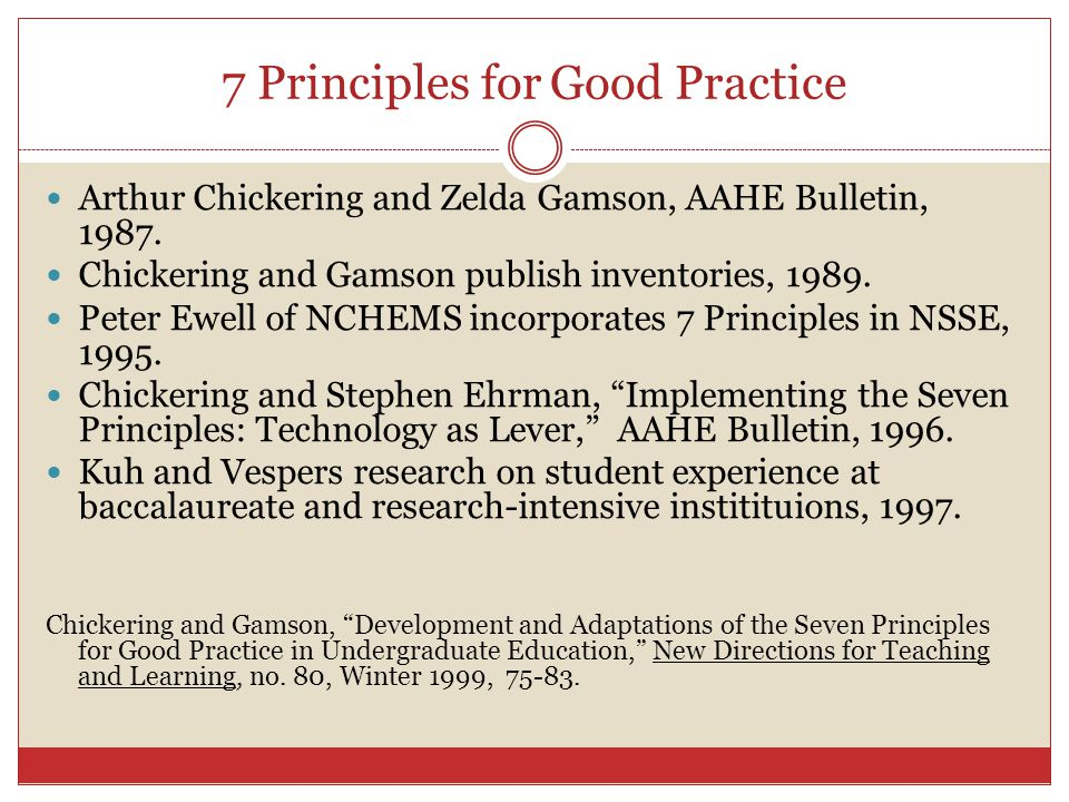 7 Principles for Good Practice Arthur Chickering and Zelda Gamson, AAHE Bulletin, 1987.