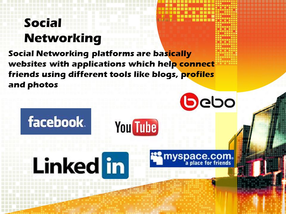 Social Networking platforms are basically websites with applications which help connect friends using different tools like blogs, profiles and photos