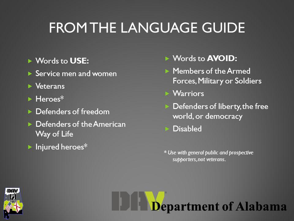  Words to USE:  Service men and women  Veterans  Heroes*  Defenders of freedom  Defenders of the American Way of Life  Injured heroes*  Words