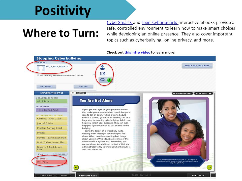 Where to Turn: Positivity CyberSmarts CyberSmarts and Teen CyberSmarts Interactive eBooks provide a safe, controlled environment to learn how to make smart choices while developing an online presence.