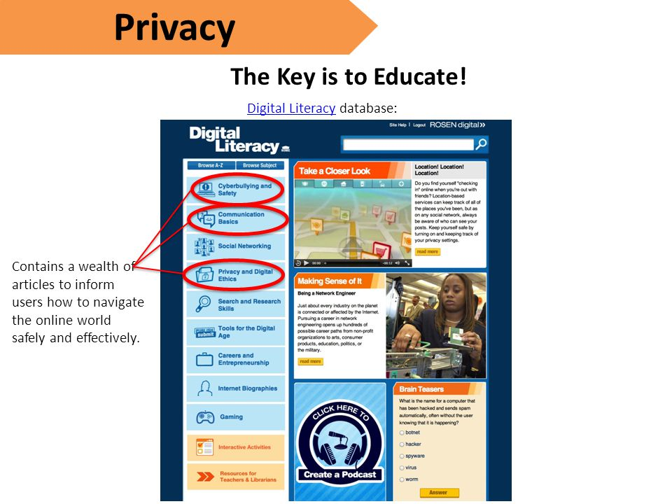 Privacy The Key is to Educate.
