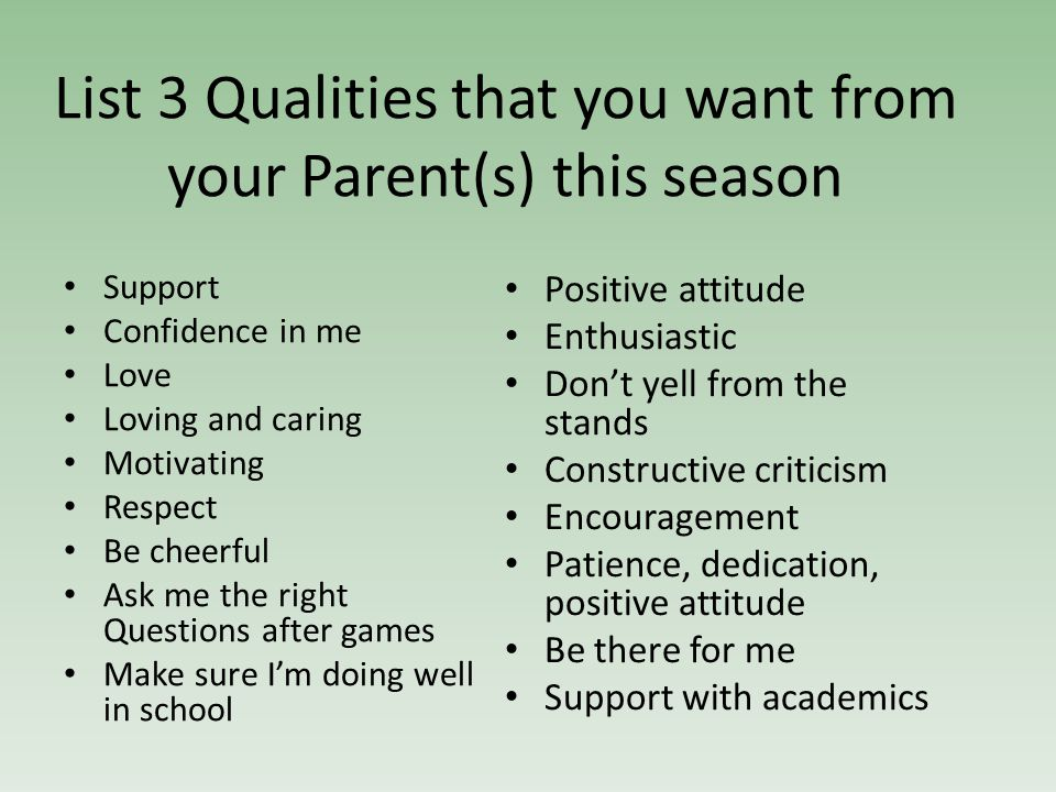 List 3 Qualities that you want from your Parent(s) this season Support Confidence in me Love Loving and caring Motivating Respect Be cheerful Ask me the right Questions after games Make sure I'm doing well in school Positive attitude Enthusiastic Don't yell from the stands Constructive criticism Encouragement Patience, dedication, positive attitude Be there for me Support with academics
