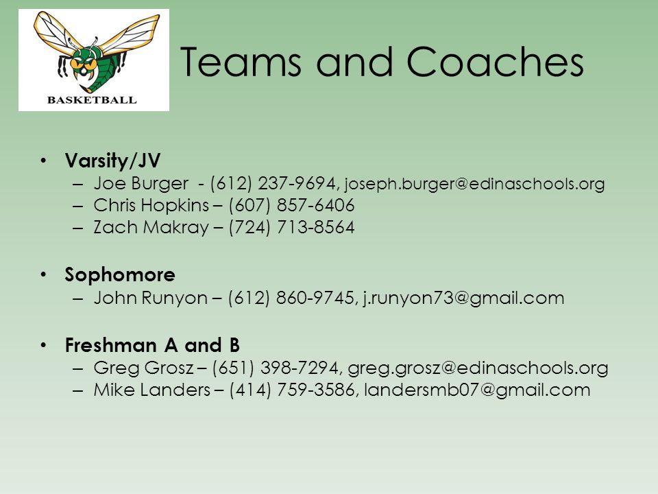 Teams and Coaches Varsity/JV – Joe Burger - (612) 237-9694, joseph.burger@edinaschools.org – Chris Hopkins – (607) 857-6406 – Zach Makray – (724) 713-8564 Sophomore – John Runyon – (612) 860-9745, j.runyon73@gmail.com Freshman A and B – Greg Grosz – (651) 398-7294, greg.grosz@edinaschools.org – Mike Landers – (414) 759-3586, landersmb07@gmail.com