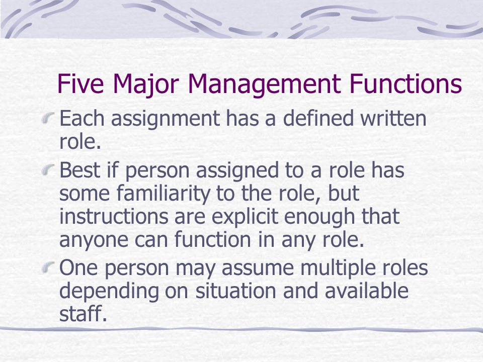 Each assignment has a defined written role. Best if person assigned to a role has some familiarity to the role, but instructions are explicit enough t