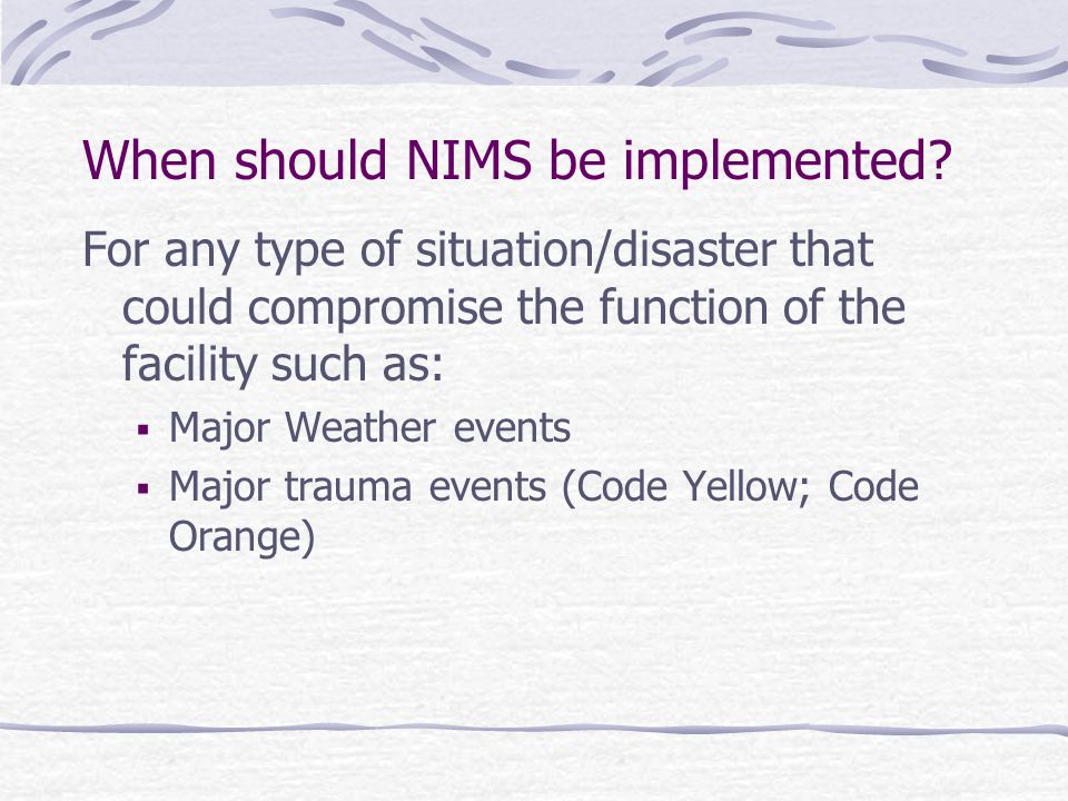 For any type of situation/disaster that could compromise the function of the facility such as:  Major Weather events  Major trauma events (Code Yell