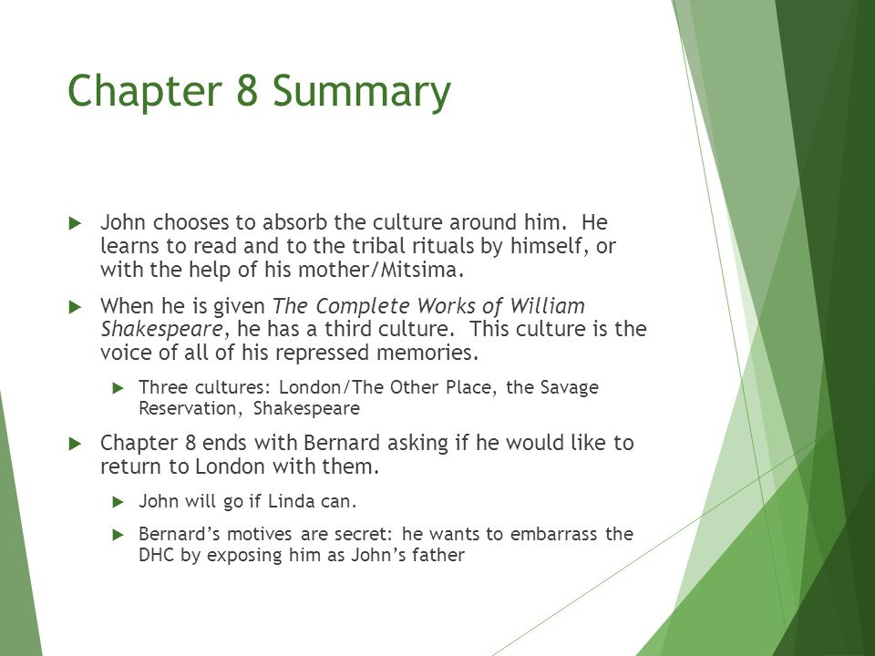Chapter 8 Summary  John ends the chapter by quoting The Tempest to express his feelings of joy at finally getting to see the Other World that he had heard about as a child: O brave new world that has such people in it.  It's ironic, not because the title is in the phrase.