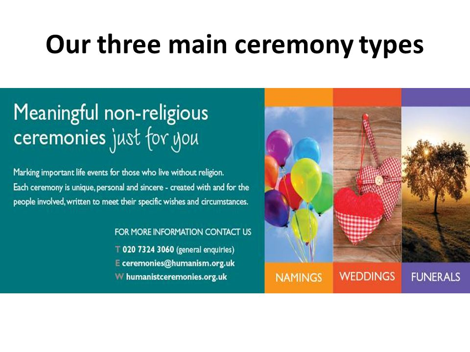 Our three main ceremony types Pics of leaflets