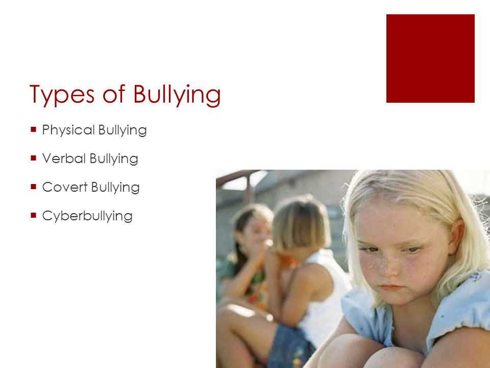 Types of Bullying  Physical Bullying  Verbal Bullying  Covert Bullying  Cyberbullying