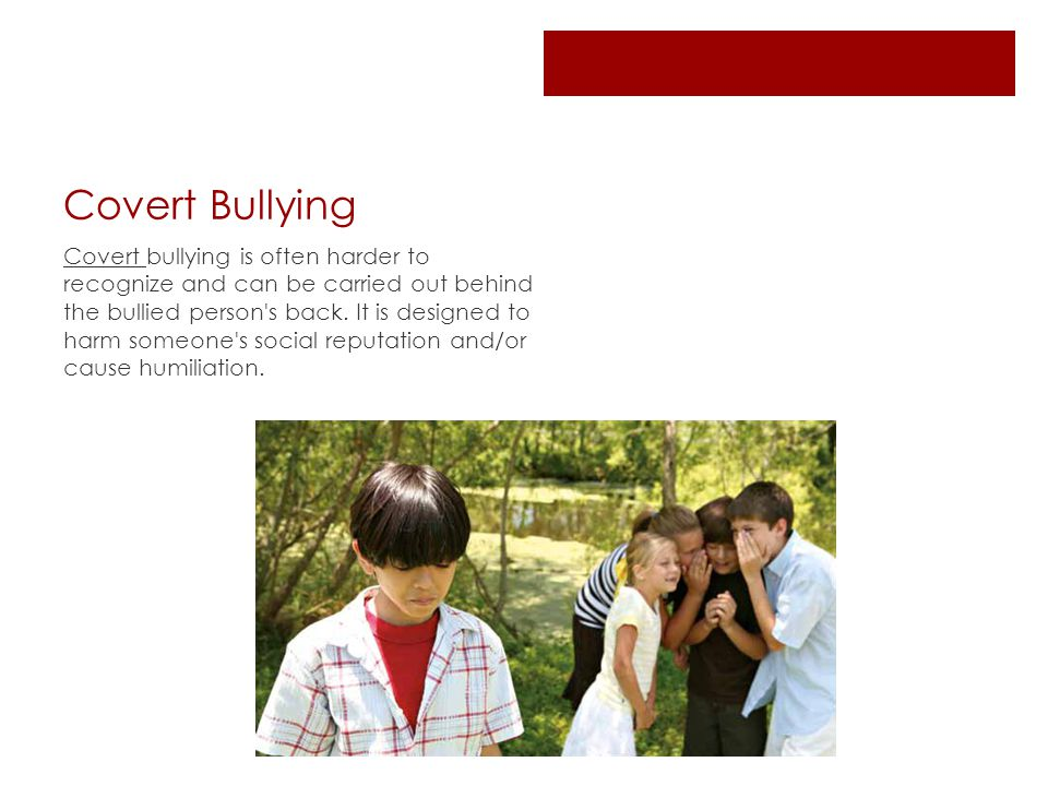 Covert Bullying Covert bullying is often harder to recognize and can be carried out behind the bullied person s back.