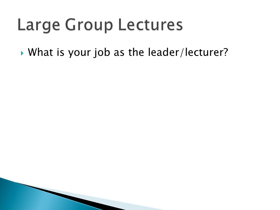  What is your job as the leader/lecturer