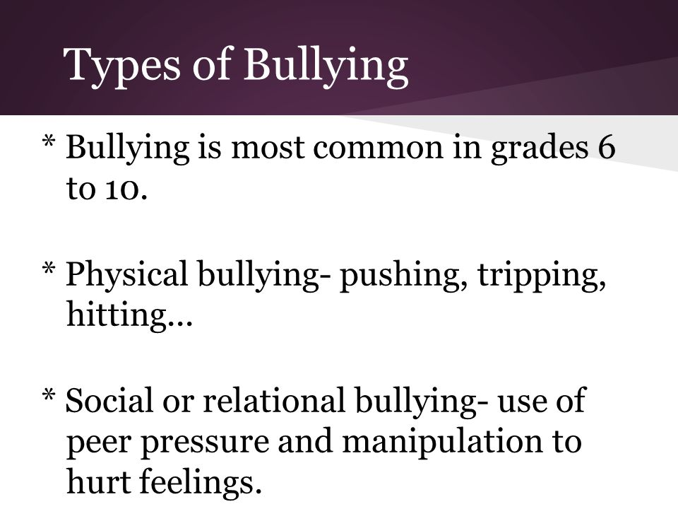 Types of Bullying * Bullying is most common in grades 6 to 10.