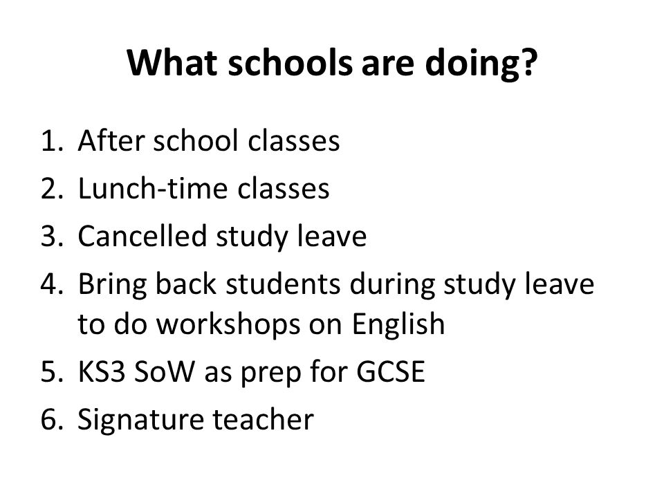 What schools are doing.
