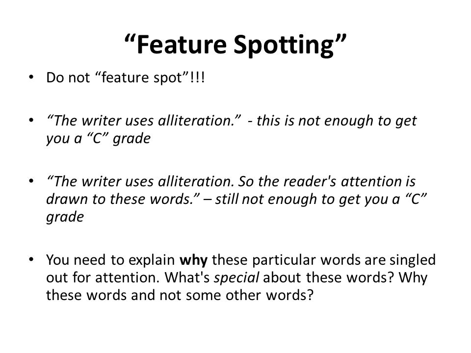 Feature Spotting Do not feature spot !!.
